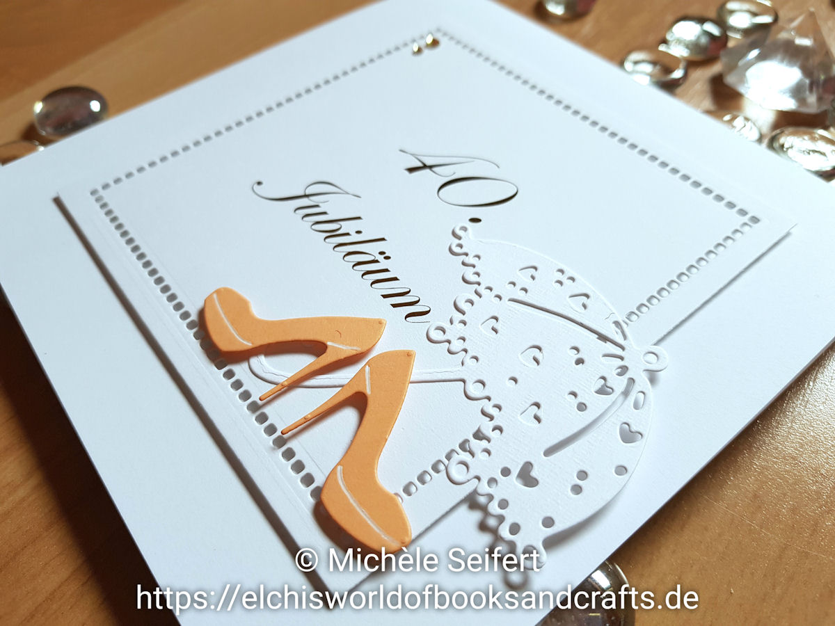 40 Jubilaeum extravagant - Memory Box - Plattform Pumps - Magnolia Doohickey - Lovely Umbrella - Spellbinders - Hemsticht Squares - Minc - Karte