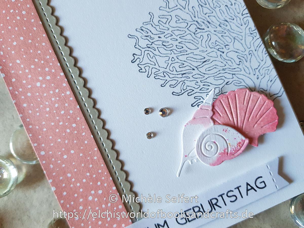 4enScrap - Coquillages - Craft Emtotions - Shells and Starfish - Muscheln - JM Creation - Koralle - Creative Depot - Lindy's Gang - Magical Shaker - Geburtstagskarte - maritim