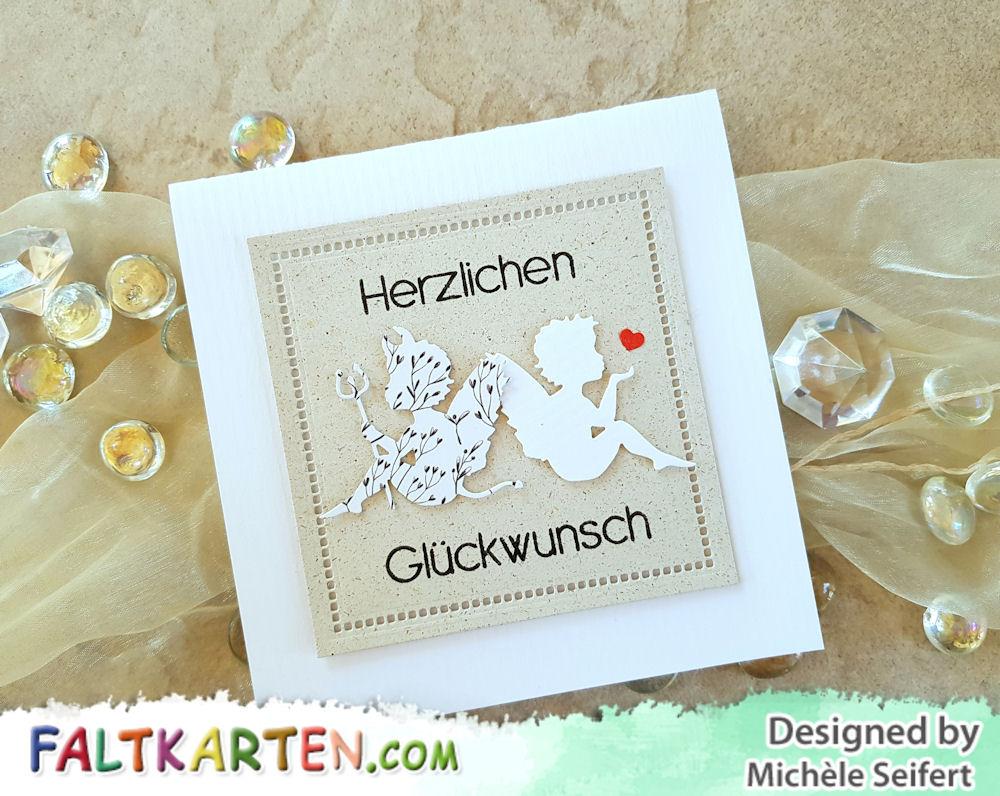 Alexandra Renke - Engelchen mit Herz - Teufelchen - Inkystamp - Herzlichen Glückwunsch - Faltkarten.com - kreideweiss - Graskarton - Geburstagskarte