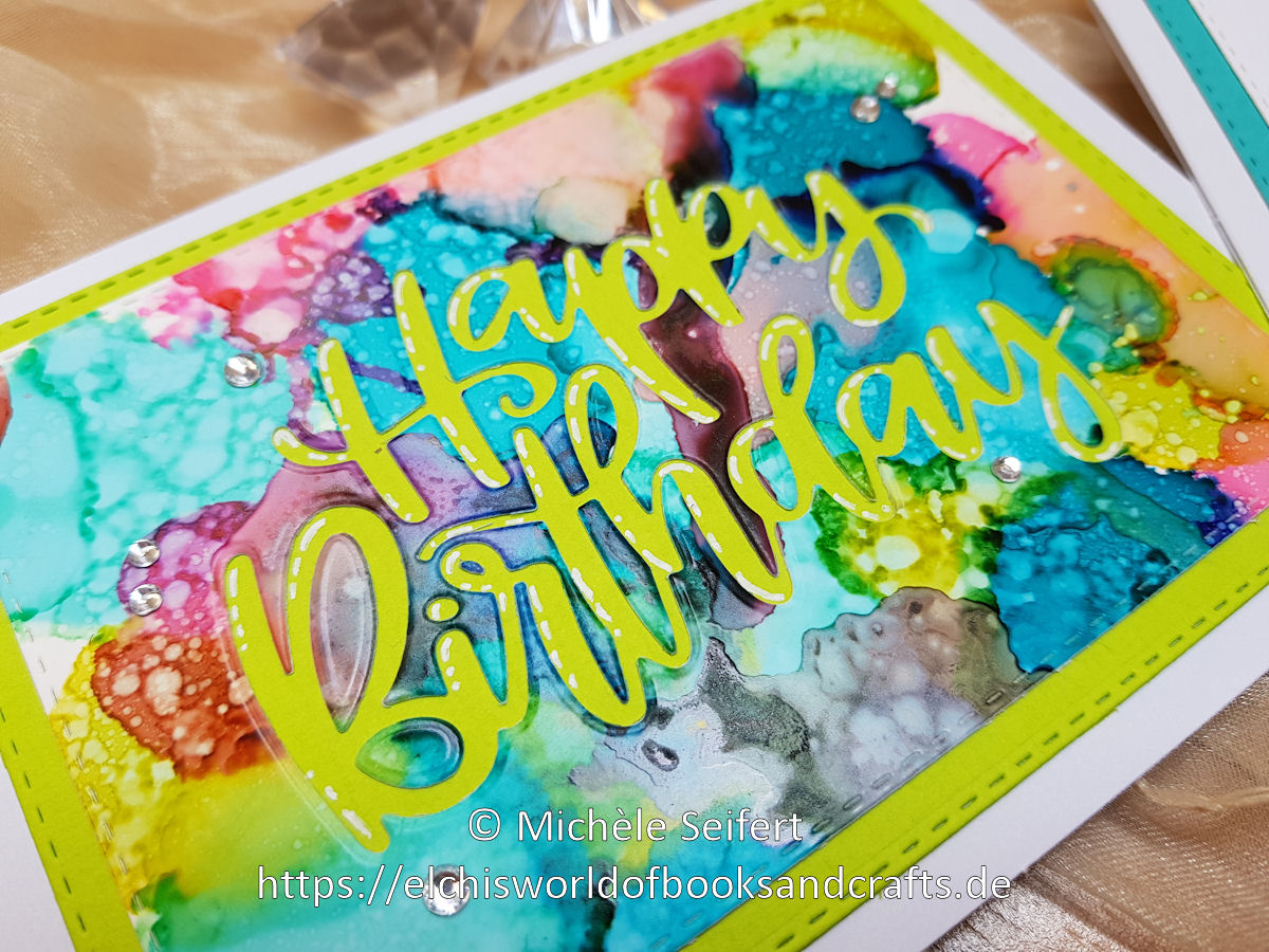 Alcohol Inks - MFT Birthday Script