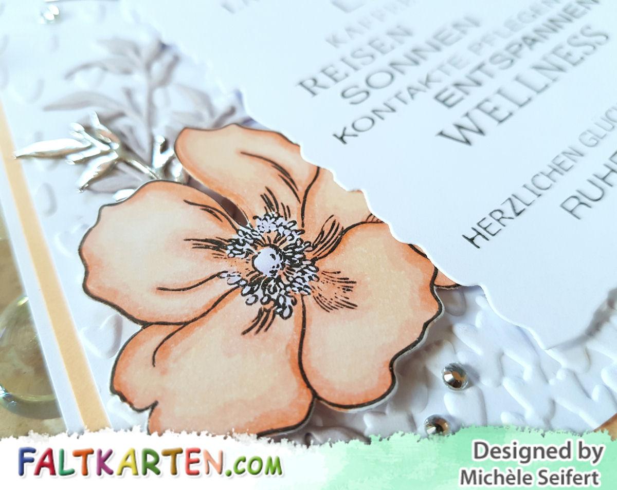 Altenew - Modern Anemone - 4enScrap - Branchages & feuilles - Stampin'Up! - Thinlits Alles Wunderbare - Prägefolder - Blütenregen - Blumen - Copics - Faltkarten.com - Ruhestand - Rente - Karte