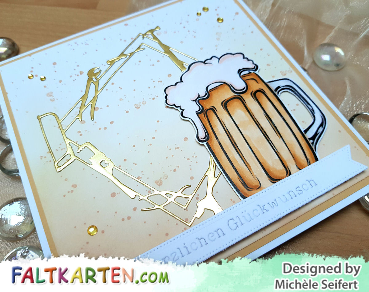 Bierkarte - Männerkarte - Faltkarten.com - Memory Box - Workshop Frame - Werkzeug - Distress Oxide - Tea Dye - Antique Linen - Copics - Geburtstagskarte