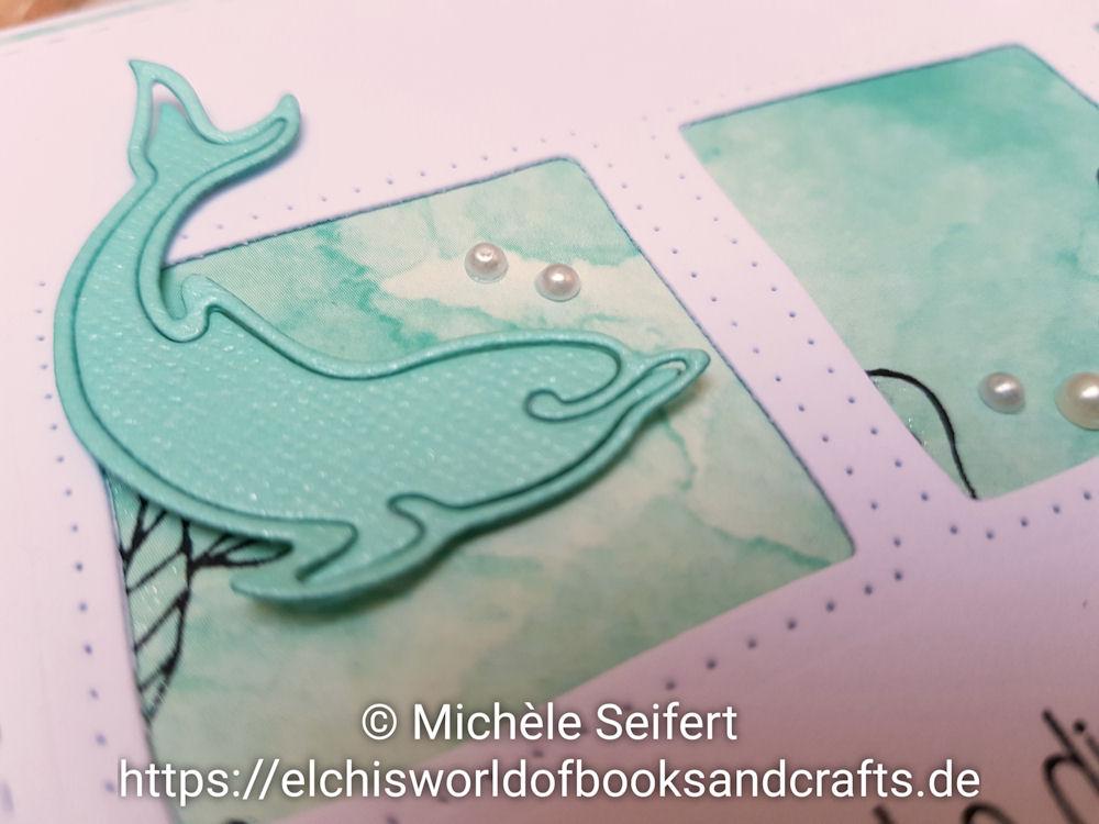 Alexandra Renke - Delphin und Seepferdchen - Steckenpferdchen - Koralle - Ich wünsche Dir ein bisschen Meer - 4enScrap - Trio de carrés pointillés - Grusskarte - maritim