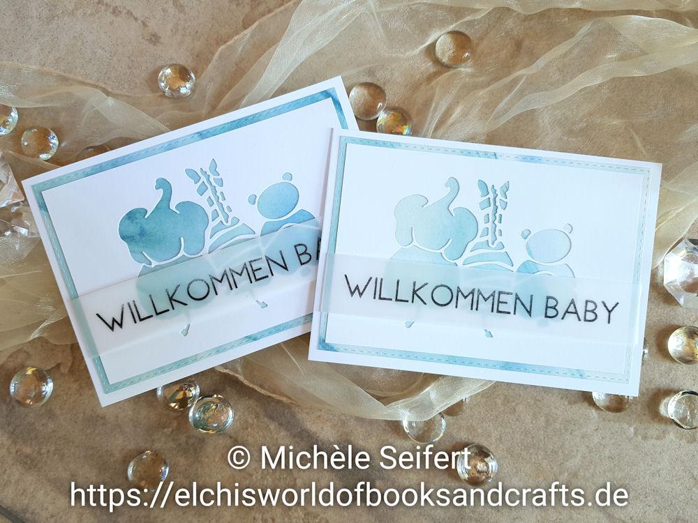 Creative Depot - Baby Tiere - Baby Set Elefant - Design-Papier Aquarell Hintergrund Türkis - Babykarte