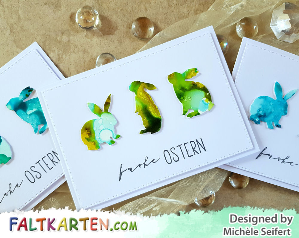 Creative Depot - Hasen Trio - Alcohol Inks - Osterkarten