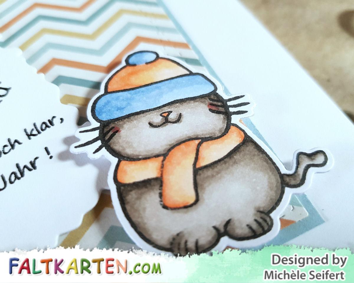 Faltkarten.com - Kuschlige Weihnachtsgrüße - Katze - Design-Papier - Happy Herbst - PP-Stamps - After Christmas Card - Copics - Neujahrsgrüße