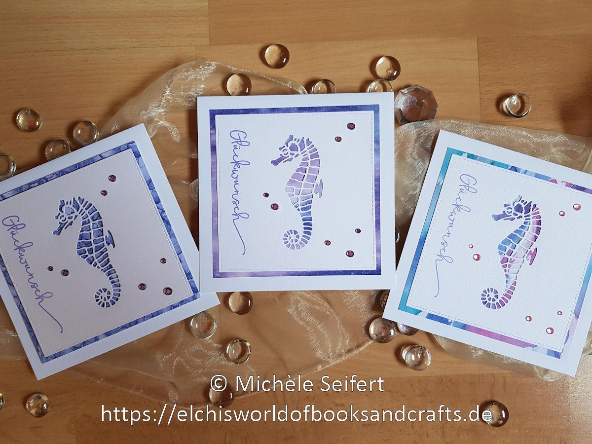Creative Depot - Seepferdchen - Glückwünsche - Design-Papier - Hintergrund Blaugrün - Hintergrund Dunkelblau - Faltkarten - Cardstock