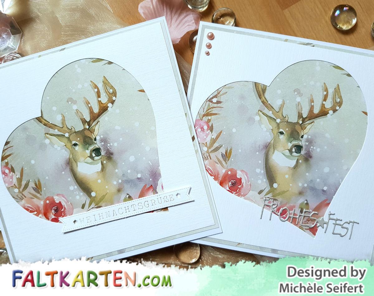 Faltkarten.com - Design-Papier - Zauberwald - Hirsch - Charlie und Paulchen - Banner - Weihnachtskarte