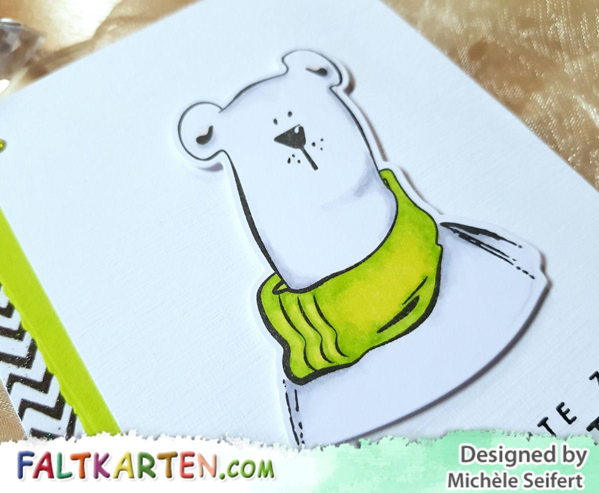 Gummiapan - Isbjörn - Eisbär - Geburtstagskarte - Faltkarten.com - leinen weiß - struktur frühlingsgrün - Copics