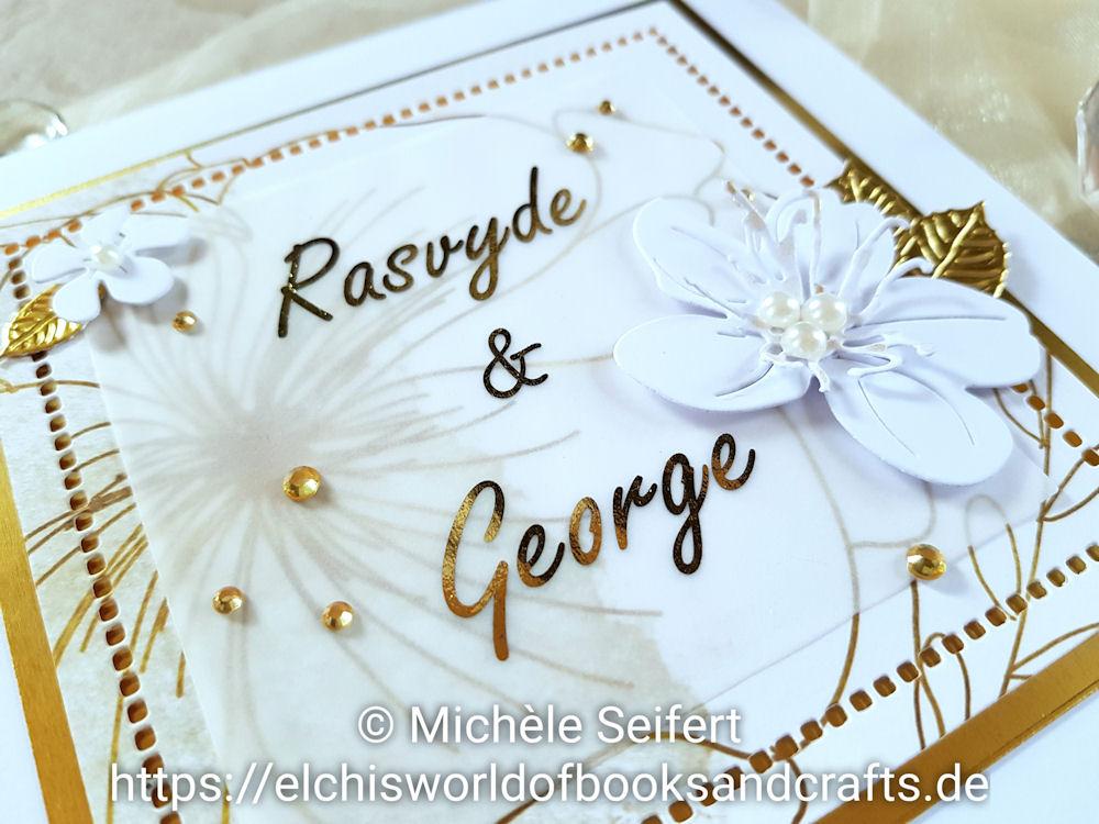 Hochzeitskarte - 4enScrap - Fleurs de cerisier - Feuilles de cerisier - Feuilles exotiques - Steckenpferdchen - Design-Papier - Blütenzauber - weiß - gold - Minc