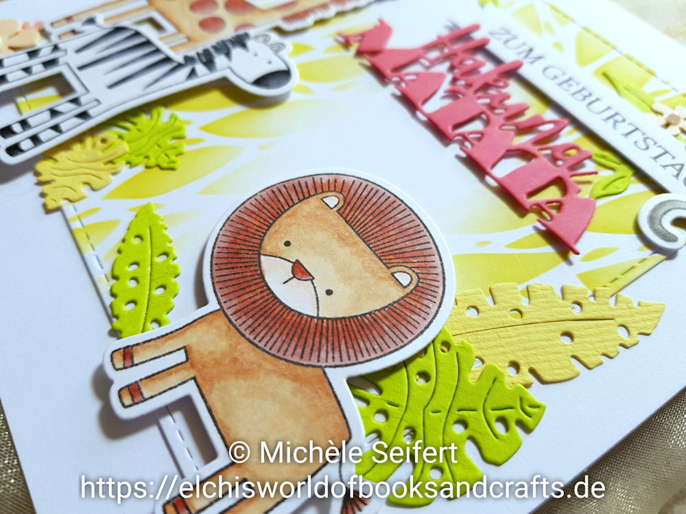 MFT - My Favorite Things - Sweet Safari - Scrapbook Forever - Hakuna Matata - 4enScrap - Feuilles D'Eté - Feuilles Exotiques - Geburtstagskarte - Birthday Card - Der König der Löwen