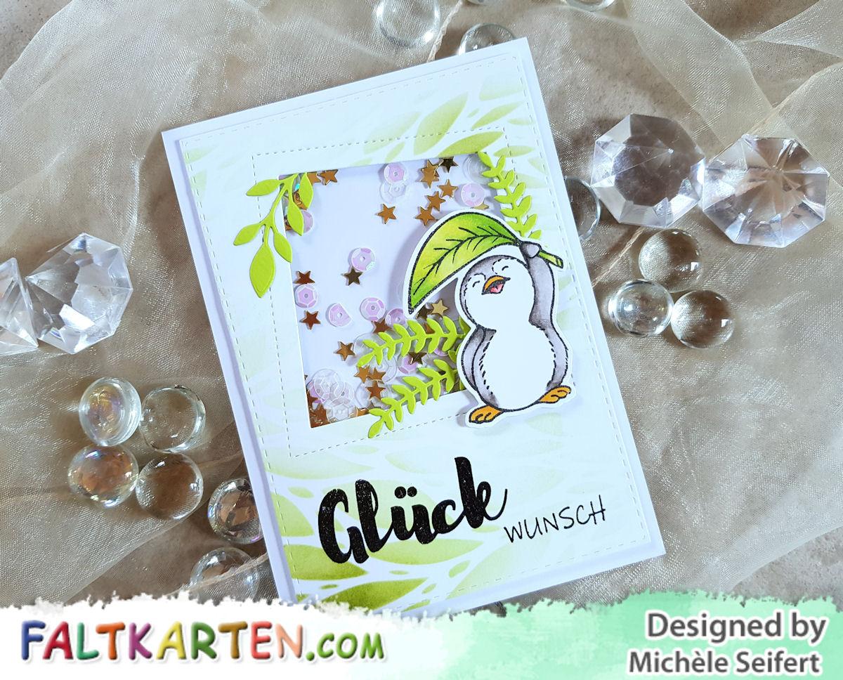 Kulricke - Felix mit Blatt - Geburtstagkarte - Schüttelkarte - Faltkarten.com - struktur frühlingsgrün - Copics