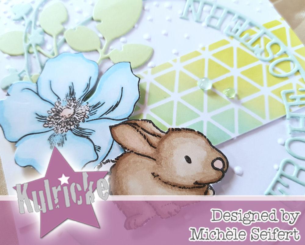 Kulricke - Hase - Frohe Ostern Kreis - Simply Graphic - branche fleurie - feuillage fendu - Altenew - Modern Anemone - Osterkarte