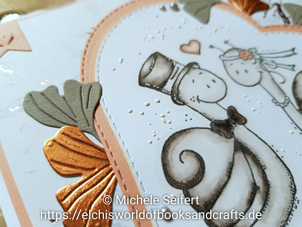AEH Design - Lelo Design - Hochzeitsschnecken - Brautpaar - 4enScrap - Feuilles de Ginko - Copics - Hochzeitskarte - Weddingcard