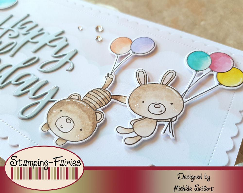My Favorite Things - MFT - Balloon Besties - Slimline Card - Die-Namics - Happy Birthday Script - Geburtstagskarte - Birthday Card