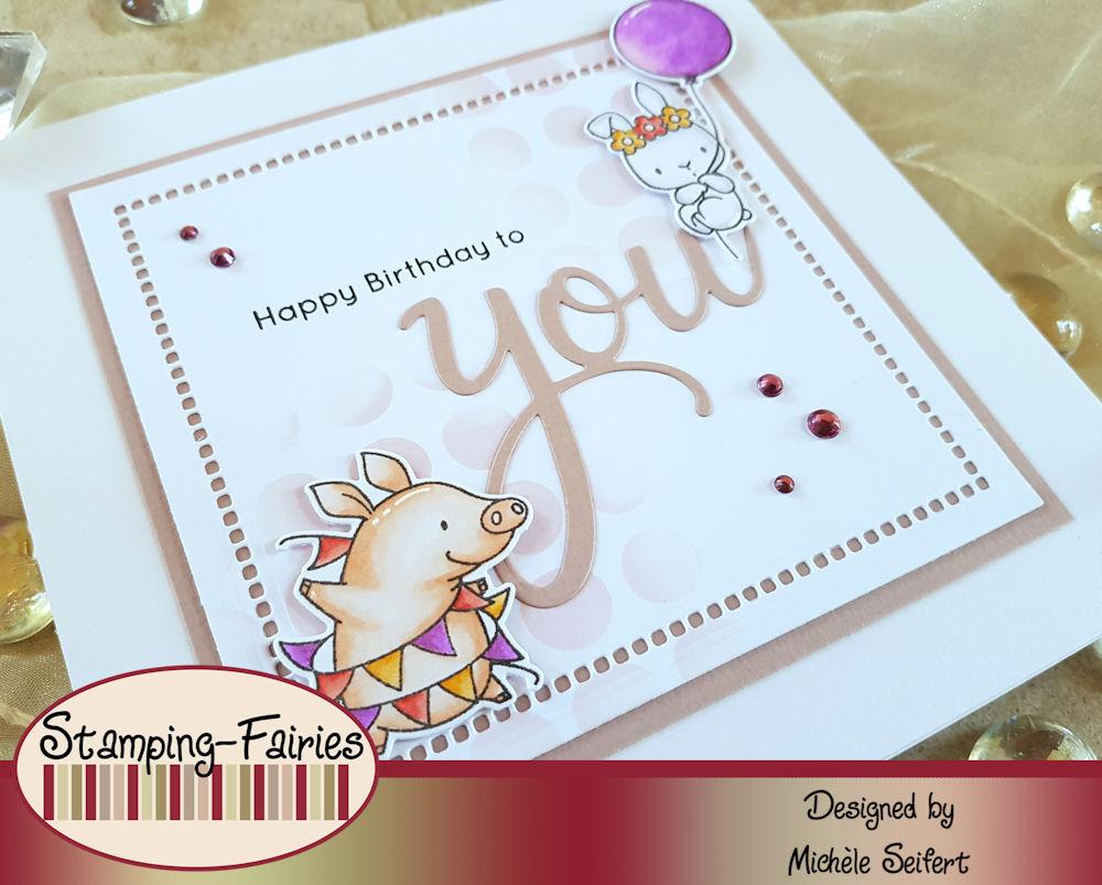 MFT - My Favorite Things - Birthday Buds - Wonky Dots Stencil - Pinkfresh Studio - You - Geburtstagskarte - Birthdaycard