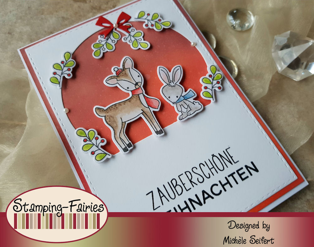 MFT - My Favorite Things - Dashing Deer - Distress Oxide - crackling campfire - festive berries - aged mahogany - Weihnachtskarte - christmas card