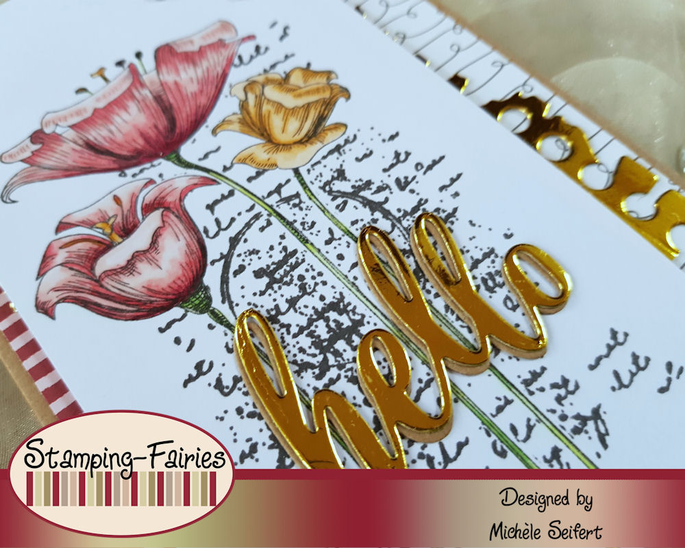 My Favorite Things - MFT - Fine Lined Floral - 4enScrap - Fonds Texte - Die-Namics - Hello - Grusskarte
