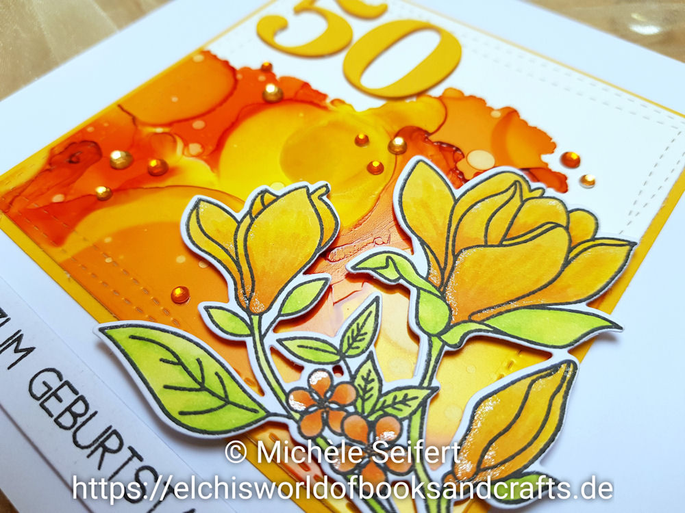 My Favorite Things - MFT - Floral Focus - Alcohol Inks - Sunshine Yellow - Sunset Orange - Valencia - Geburtstagskarte