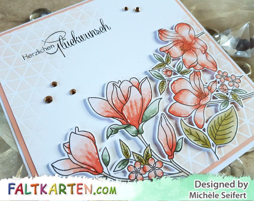 My Favorite Things - MFT - Floral Focus - coral red - Beemybear - Herzlichen Glückwunsch - Geburtstagskarte - Birthday Card
