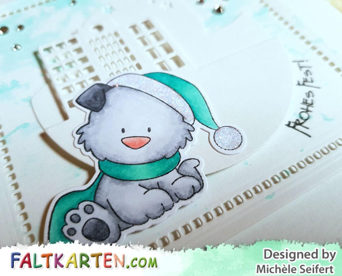 My Favorite Things - MFT - Happy Pawlidays - Charlie und Paulchen - Panorama Skyline - Panorama Mondschein - Faltkarten.com - struktur kreideweiss - Weihnachtskarte - Copics