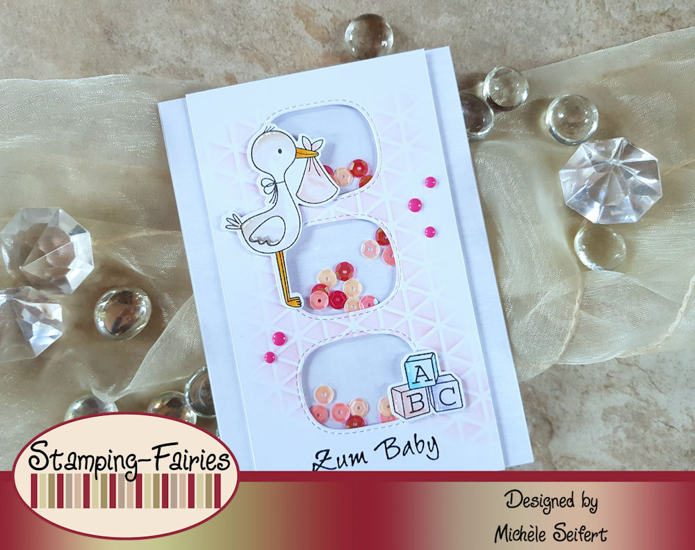 My Favorite Things - MFT - Hello Little One - Die-Namics - Stitched Triple Peek-A-Boo Window - Babykarte - Baby Card