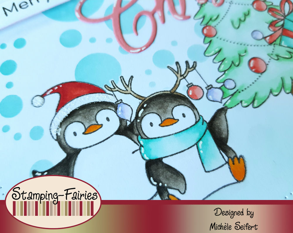 MFT - My Favorite Things - Holiday Penguins - Whimsy Stamps - Christmas Word - Weihnachtskarte - Christmas Card