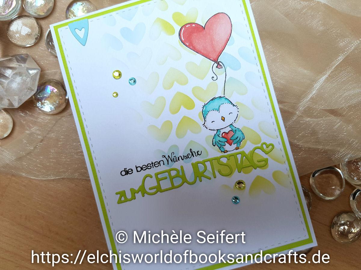 My Favorite Things - MFT - Kissing Booth - Birdie - Vogel - Stencil - Full of Heart - Distress Oxide - twisted citron - tumbled glass - Copics - Charlie und Paulchen - zum Geburtstag - Create A Smile - Geburtstagskarte