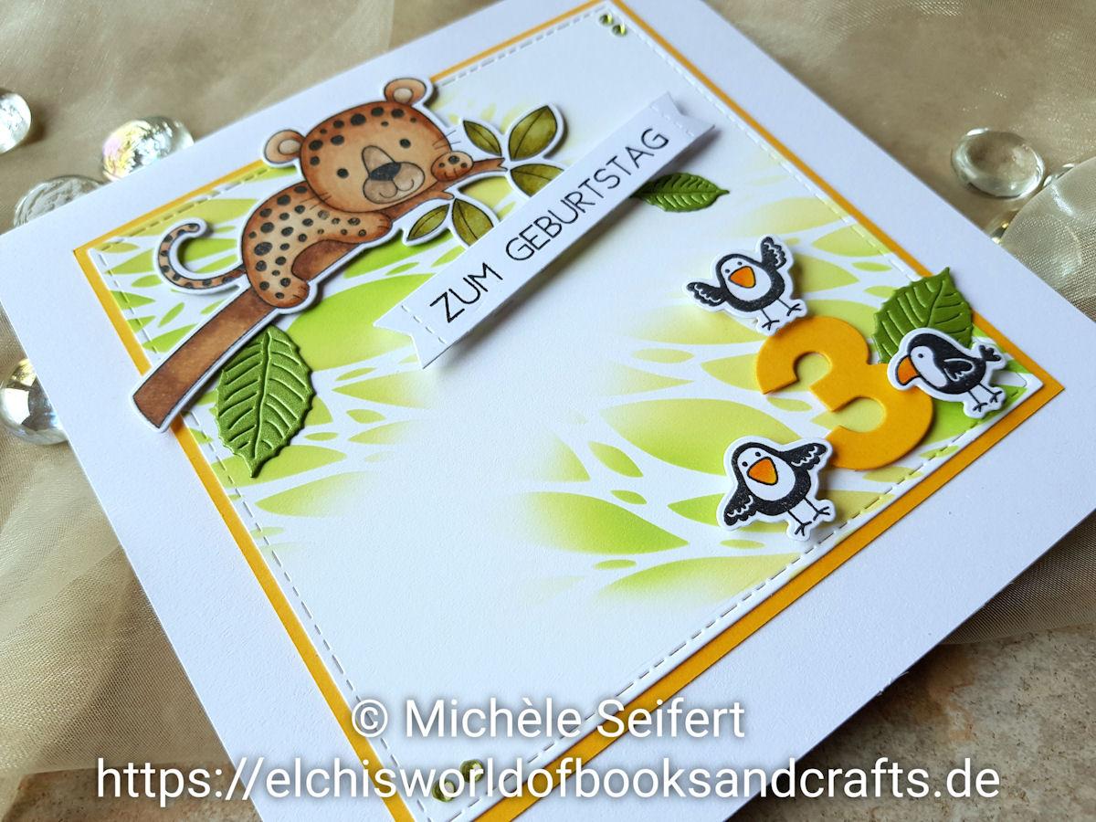 My Favorite Things - MFT - Lovable Leopards - By the Numbers - 4enScrap - Feuilles de cerisier - Craft Emotions - Botanical Leaves - Distress Oxide - Mowed Lawn - Scattered Straw - Geburtstagskarte - Kindergeburtstag