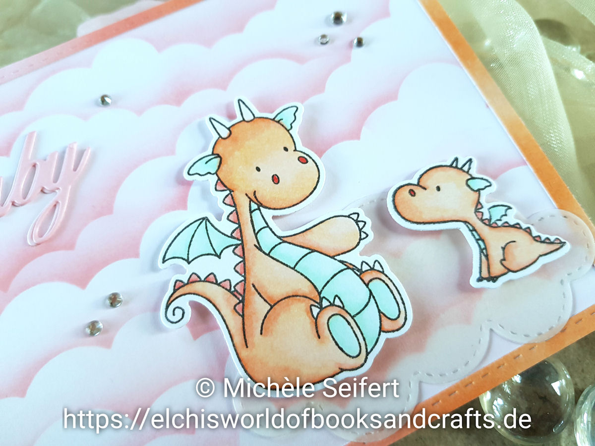 My Favorite Things - MFT - Magical Dragons - Babykarte - babycard - Cloud - Wolken - Copics - Distress Oxide