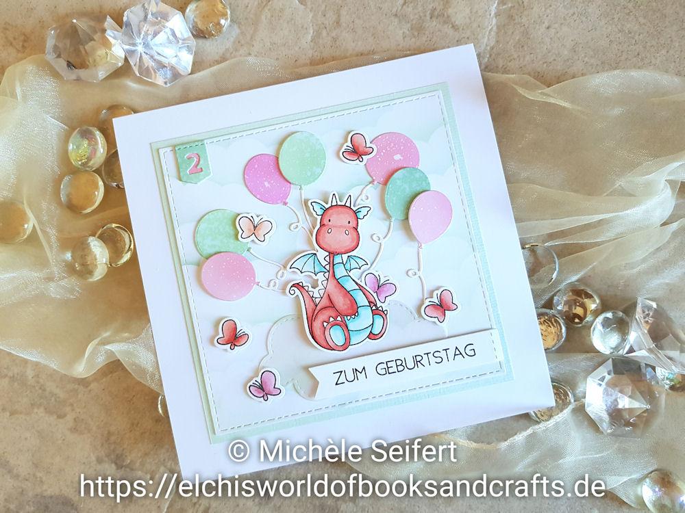 MFT - My Favorite Things - Magical Dragons - Bundle of Balloons - Clouds - Geburtstagskarte - Birthdaycard