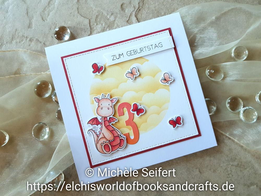 MFT - My Favorite Things - Magical Dragons - Adorable Elephants - Mini Cloud Edges Stencil - Die-Namics - Impact Numbers - Distress Oxide - Geburtstagskarte - Birthday Card
