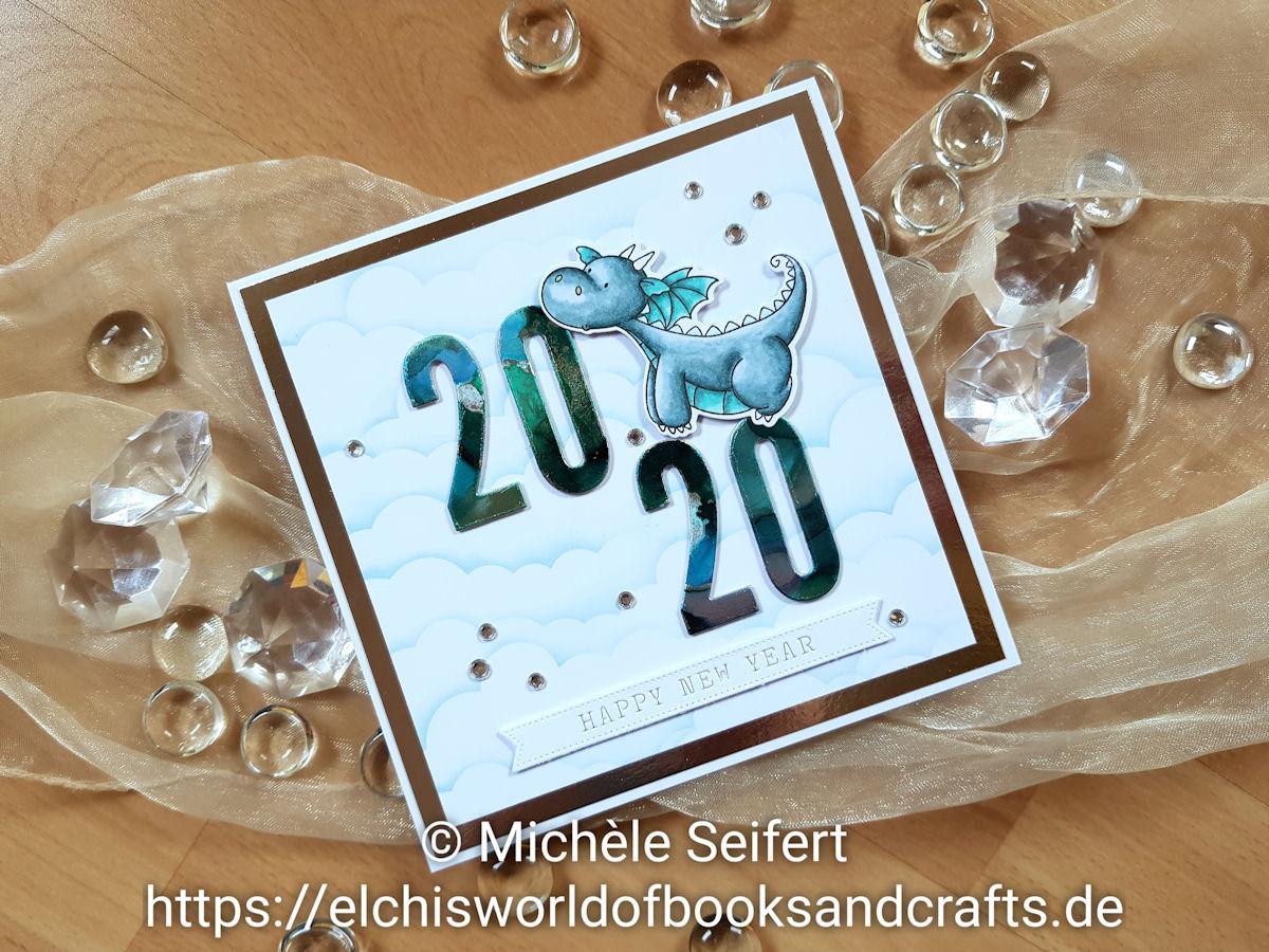 MFT - My Favorite Things - Die-Namics - Magical Dragons - Impact Numbers - Stencil - Mini Cloud Edges - Distress Oxide - Alcohol Inks - Charlie und Paulchen - Banner Weihnachtliche Grüße - Drachen - Neujahrskarte - Happy New Year Card - Copics