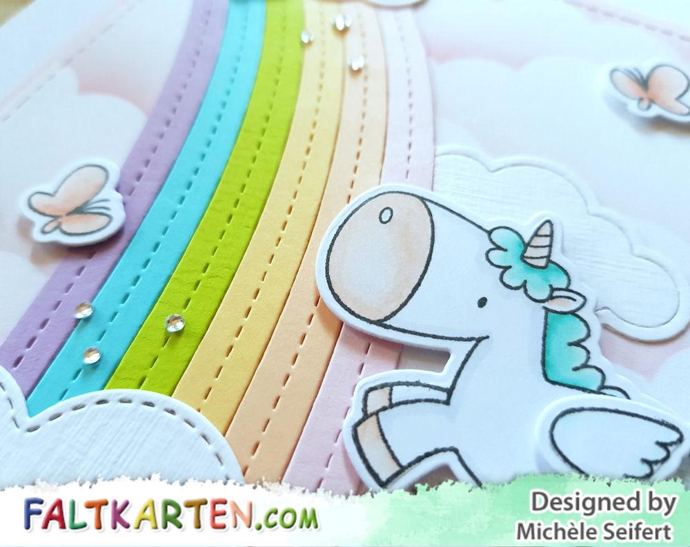 MFT - My Favorite Things - Magical Unicorns - Die-Namics - End of the Rainbow - Cute Cloud Outlines - Geburtstagskarte - Birthdaycard
