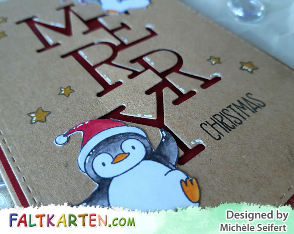 My Favorite Things - MFT - Holiday Penguins - Die-Namics - Stacked Merry - Weihnachtskarte - Christmas Card