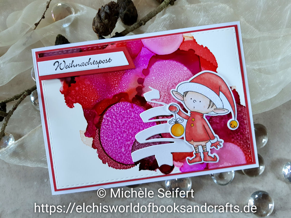 My Favorite Things - MFT - Santa's Elves - Kulricke - Weihnachtsbaum - Alcohol Inks - Copics - Weihnachtskarte - Christmascard