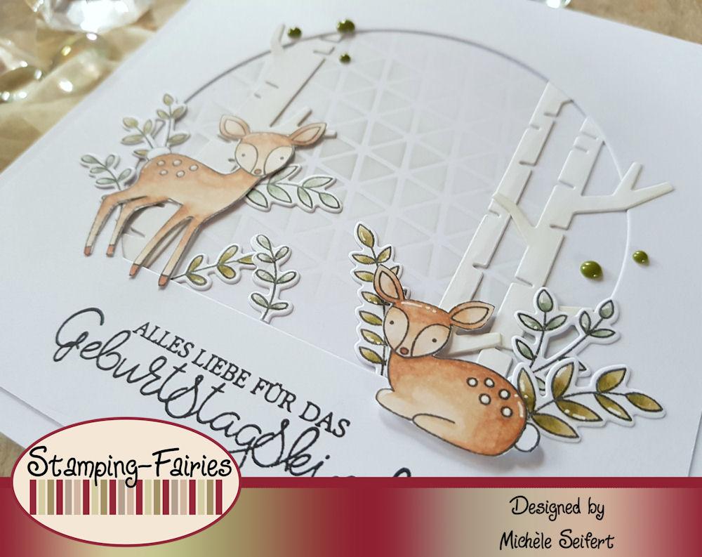 My Favorite Things - MFT - So Very Fawned Of You - Let's Curl Up - Die-Namics - Birch Trees - Creative Depot - Geschwungene Grüße Klassisch - Geburtstagskarte - Birthday Card