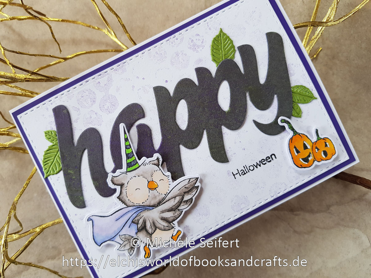 My Favorite Things - Spooktacular Friends - Happy Halloween - 4enScrap - Feuilles de cerisier - Steckenpferdchen - XXL happy - Nuvo Mica Mist - Copics
