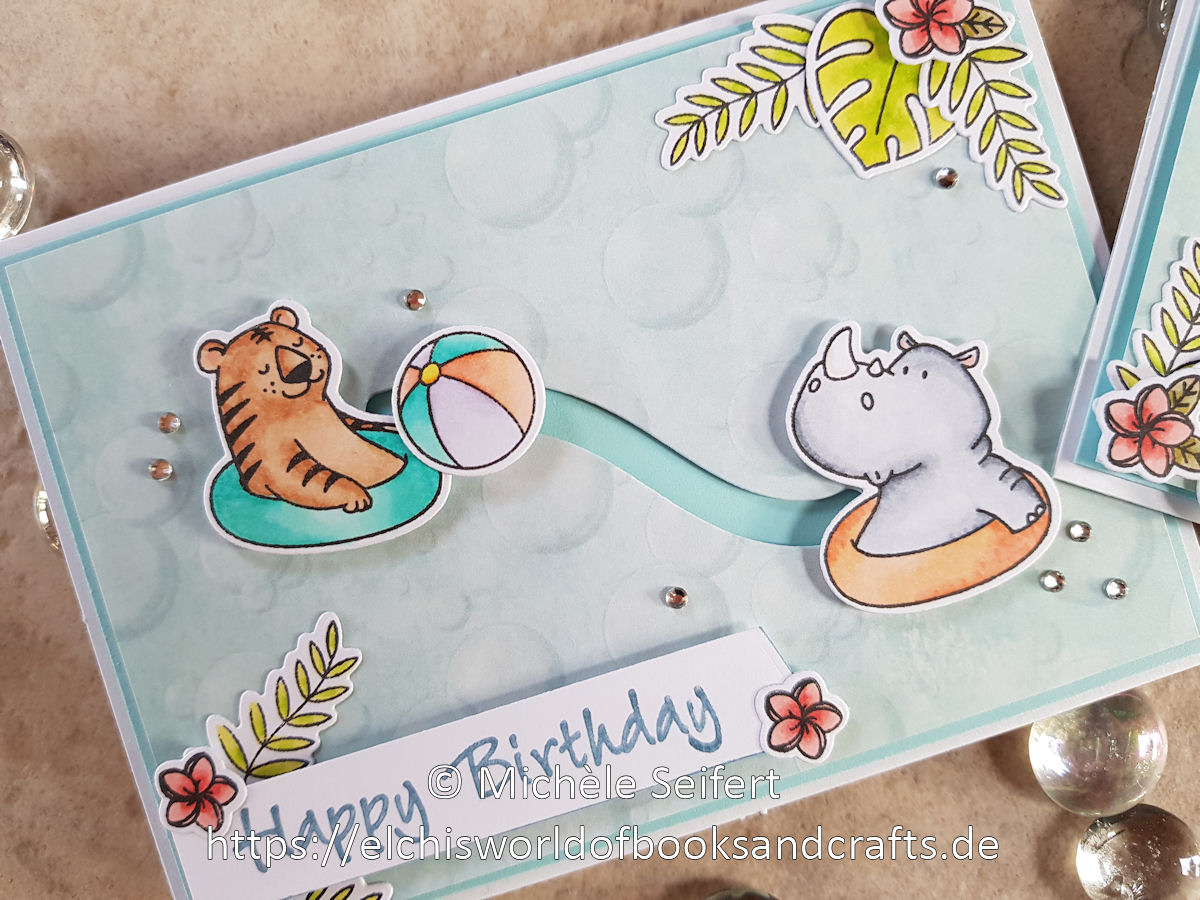 MFT - Sunshine and Friendship - JoyCrafts - Sliders Small - Design-Papier - Kaisercraft - Copics - Kinder - Geburtstagskarte - Pool-Party - Slider-Card