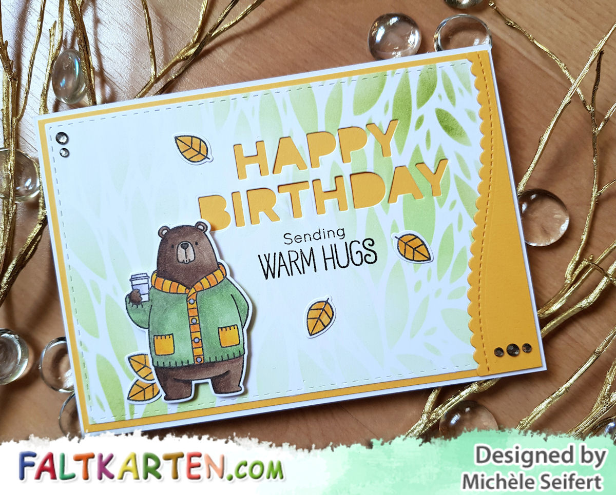 My Favorite Things - MFT - Sweater Weather in the Woods - Bär - Geburtstag - Craft Emotions - Botanical Leaves - Copics - Faltkarten.com - lindgrün - kraft grün