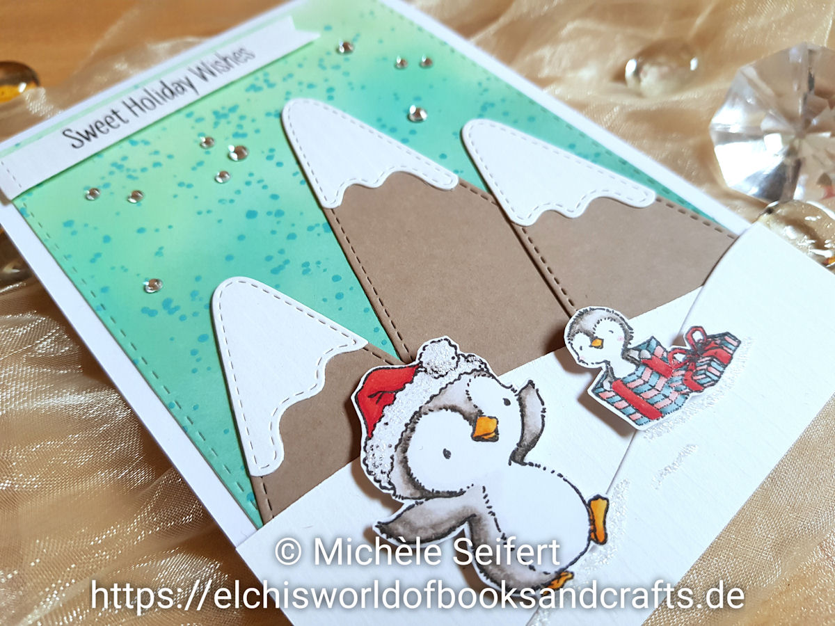 My Favorite Things - MFT - Sweet Holiday Penguins - Snow Capped Mountains - Splatter Brush - Distress Oxide - Copics - Winter - Weihnachten
