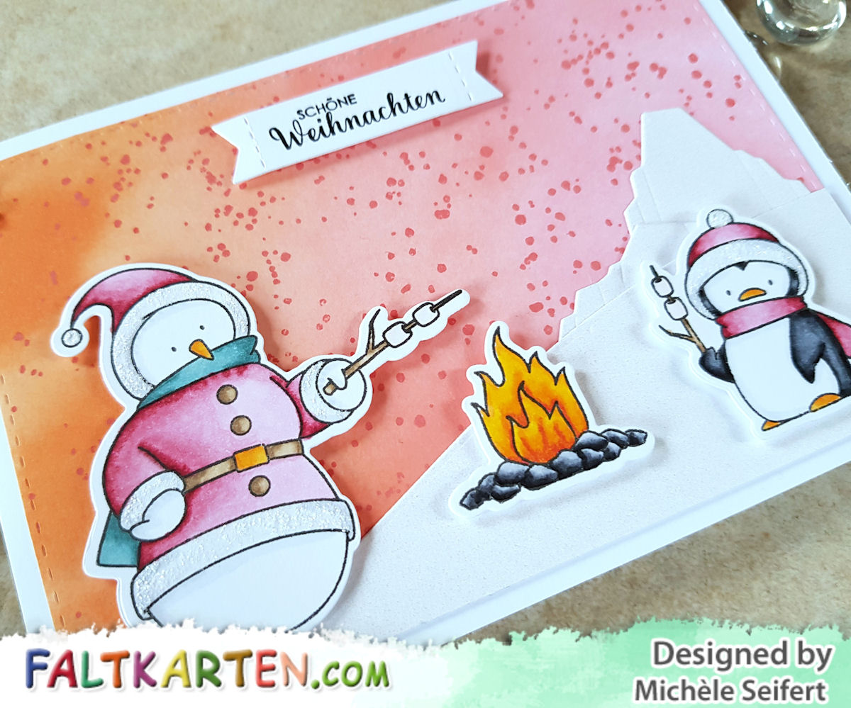 My Favorite Things - MFT - Toasty Greetings - Icebergs - Snowman - Penguin - Copics - Distress Oxide - Winter - Weihnachten - Karte - Faltkarten.com - Perlmutt Schimmer