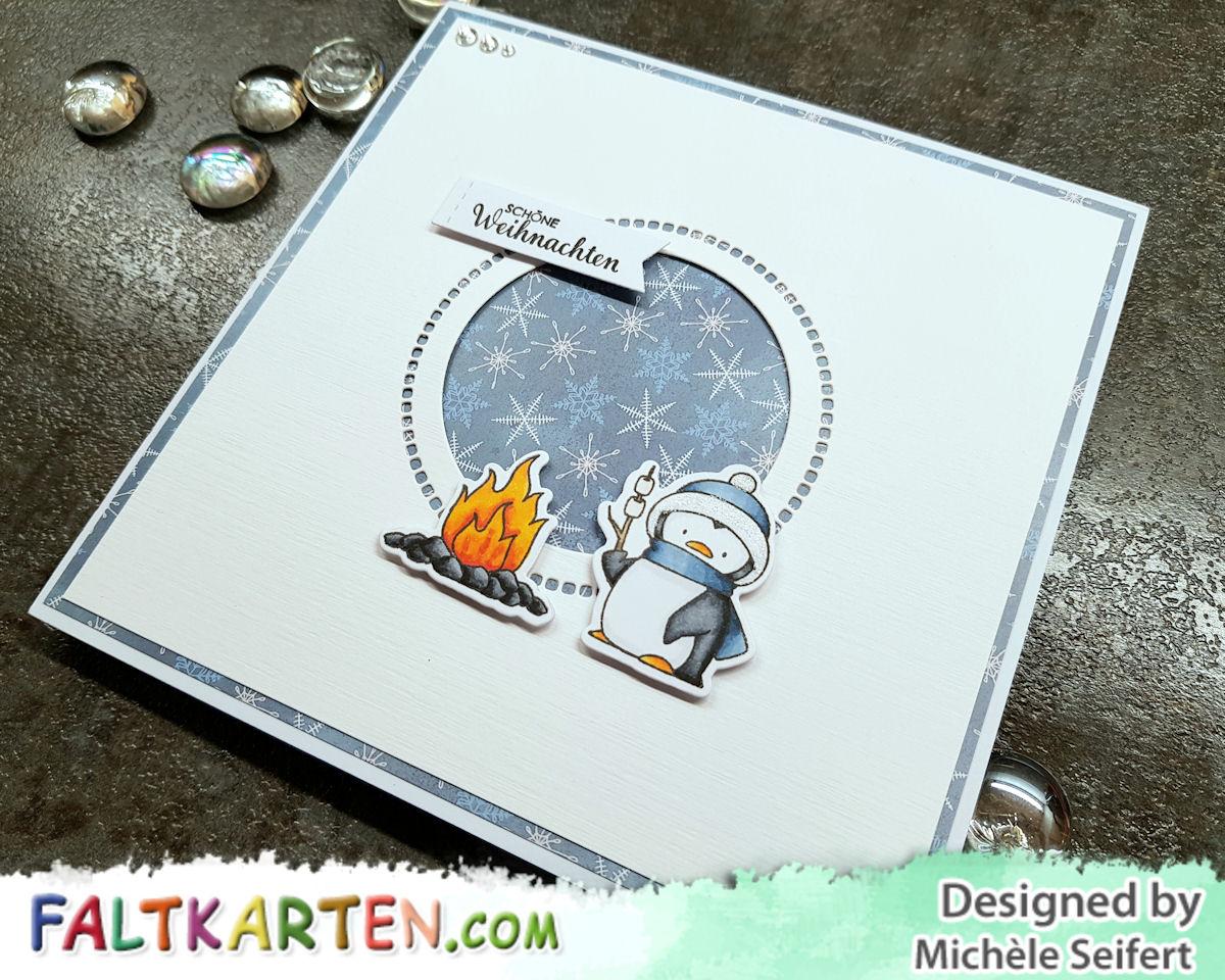 My Favorite Things - MFT - Toasty Greetings - Copics - Spellbinders - Hemstitch Circles - Faltkarten.com - Design-Papier - Arctic Winter - Weihnachten - Karte