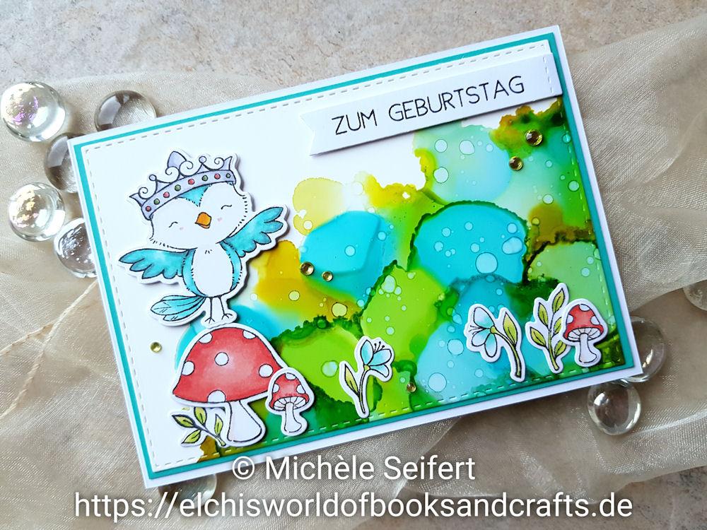 My Favorite Things - MFT - Tweet Friends - Alcohol Inks - Citrus - Limeade - Pool - Cloudy Blue - Geburtstagskarte - Birthdaycard - Copics