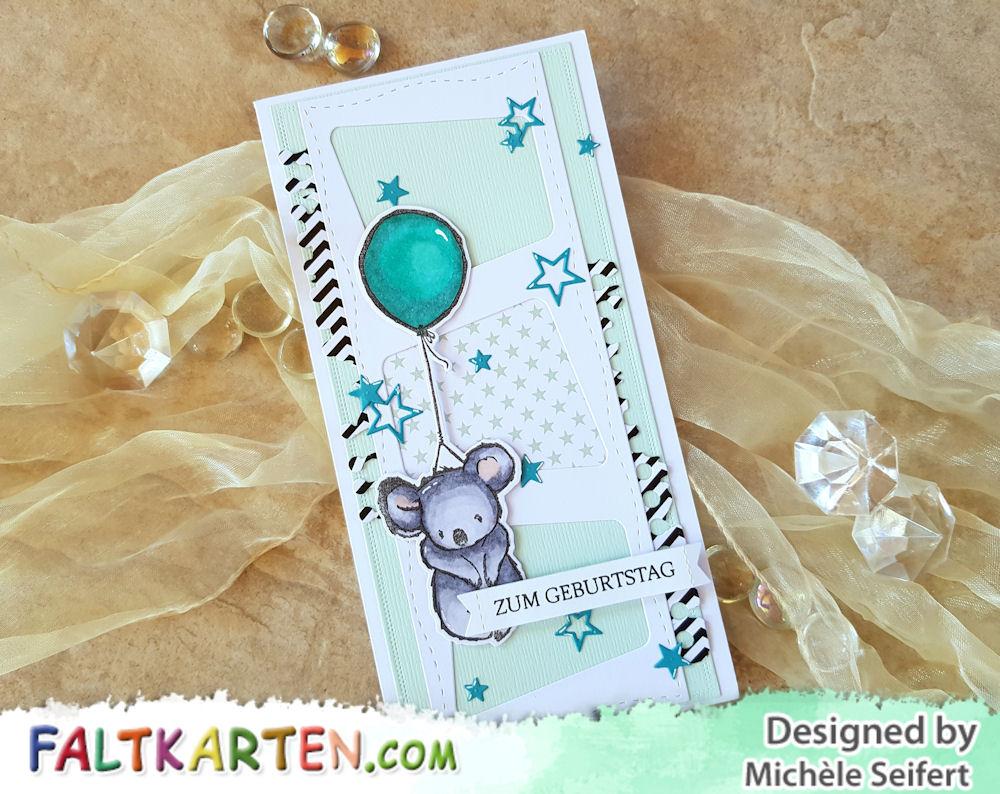 Picket Fence Studios - I wish we could hug - Whimsy Stamps - Slimline Marquee - Slimline Card - Birthday Card - Geburtstagskarte