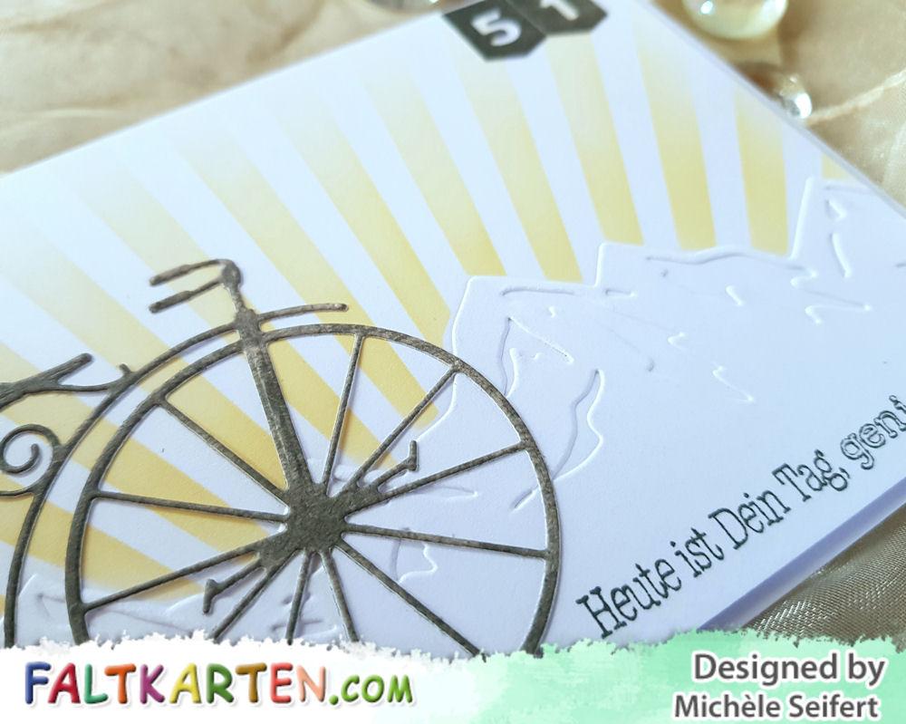 Memory Box - Vintage Bicycle - MFT - Ray of Light - Alexandra Renke - Berglandschaft - Geburtstagskarte - Birthdaycard - Männer - Radtour