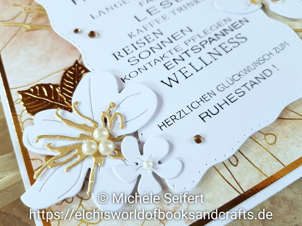 4enScrap – Fleurs de cerisier – Feuilles exotiques – Feuilles de cerisier - Branchages & Feuilles - Steckenpferdchen – Blumenzauber - Grusskarte - Zum Ruhestand - Rentenkarte