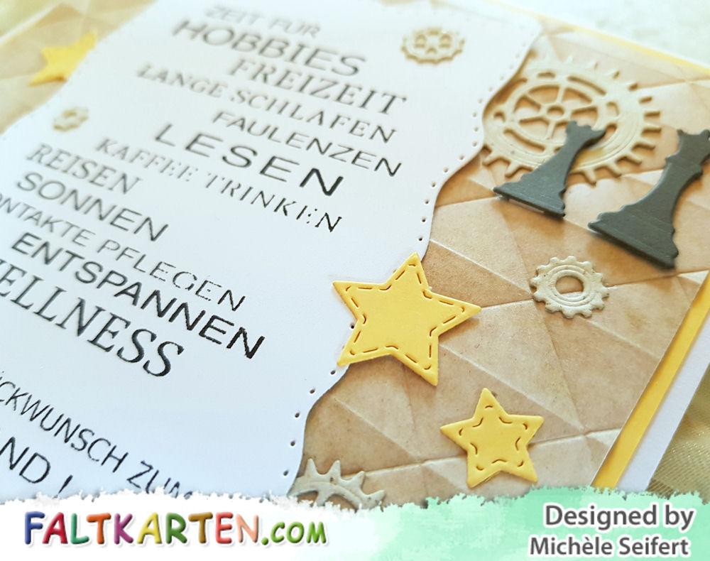 Rentenkarte - Karte zum Ruhestand - Männerkarte - Whimsy Stamps Shapeology Wavy Pierced Rectangles - Memory Box - Antique Gear Set - Mini Gears - Checkmate - We R Memory Keepers Geometric