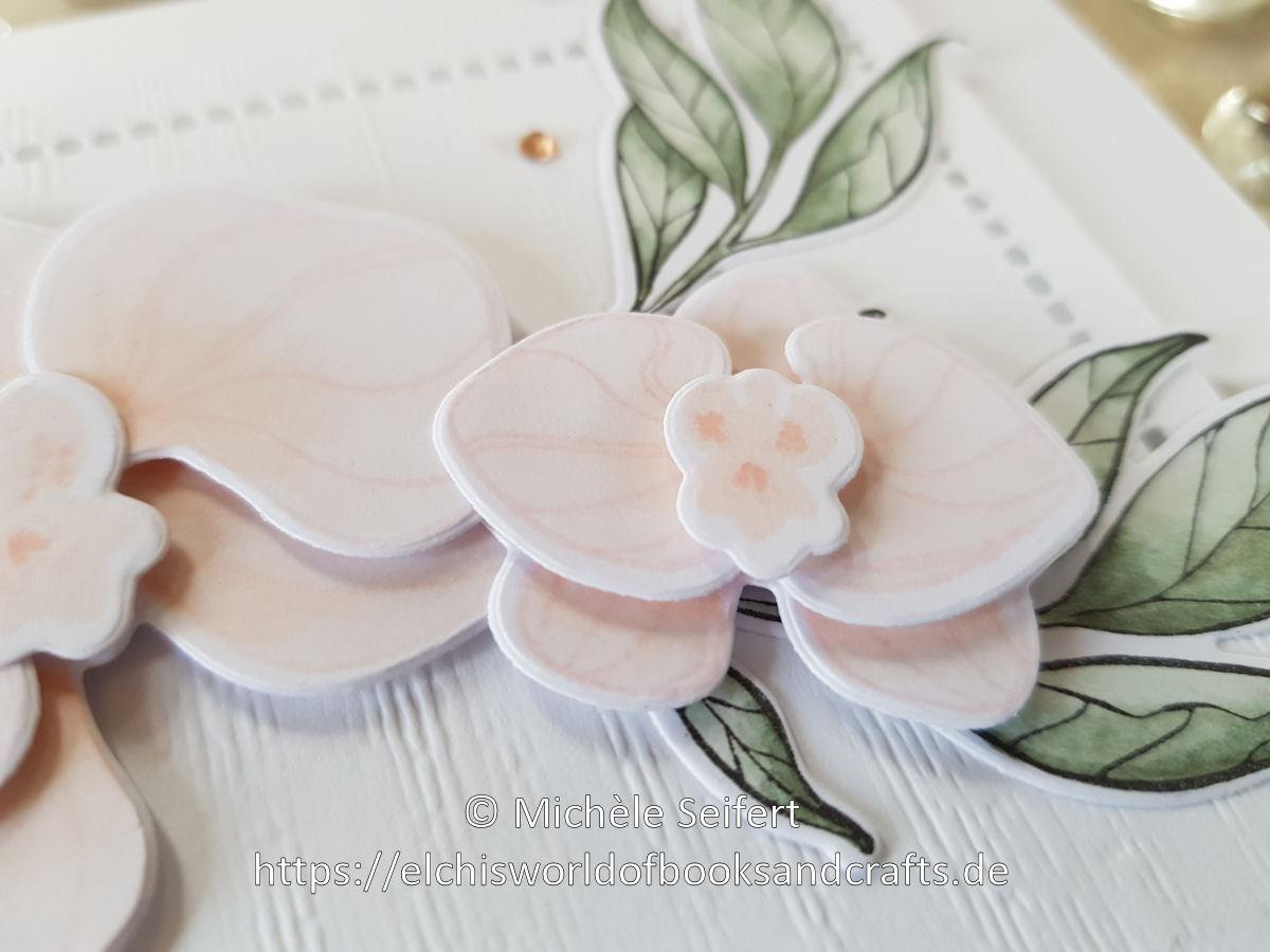 SU - Orchideenzweig - Orchideenblueten - Grund zum Laecheln - Bluetenromantik - Struktureffekt - Muttertagskarte
