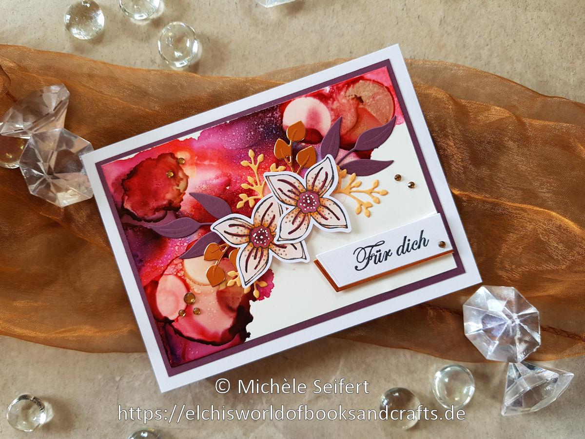 SU - Pop of Petals - Vierblättrige Blüte - Rankenrahmen - Blütenromantik - Magnoliengruss - Alcohol Inks - Grusskarte - Geburtstagskarte